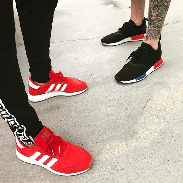 When you and your @bentley5000  #fresh #heatonmyfeet #squadgoals #adidas #iniki #boost #boostvibes #showmeyourstripes #rockemdontstockem #nmd #nmdog