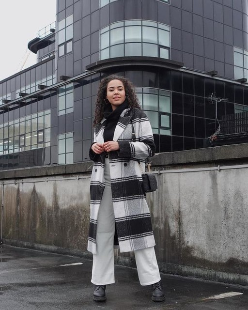 jl_oliviar - Lottie Wool Blend Check Coat