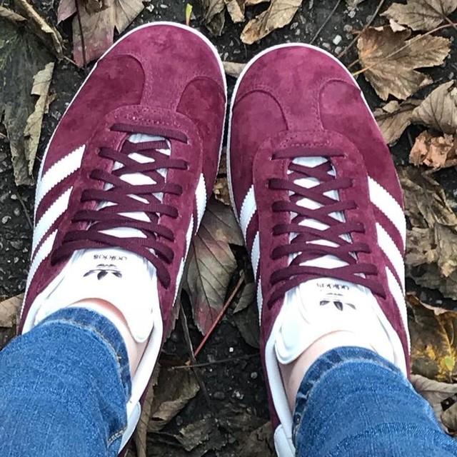 New trainers😍😍 #gazelle #adidas #adidasgazelle #autumn #leaves #lovethem #addicted #maroon