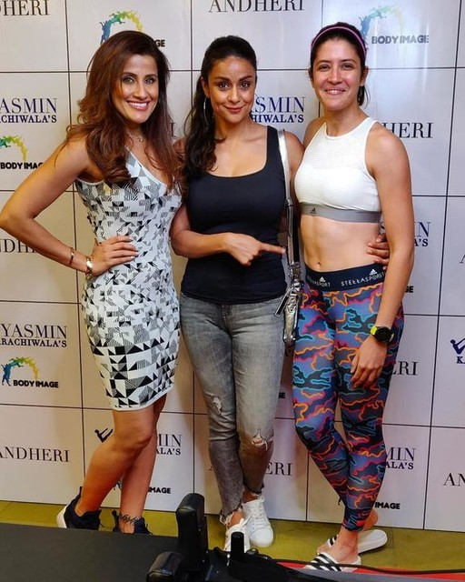 """Women who inspire me and lead by example ❤️😘 Many many congratulations yasminkarachiwala on your new studio in andheri yasminsbodyimageandheri. 😘  Also Gul's expression secretly says, """"can I have that as my 40th birthday present"""" 🙂 gulpanag  Thank you Yasmin you are a true taskmaster and an inspiration to men & women in making them believe that, there truly isn't any age to be fit 🌺🌺 #athlete #trackandfield #pilates #strongertogether #strongwomen #womenwholift #womenempowerment #instafit #lifting #power #powerlifting #mumbai #fitgirl #indian #india #healthylifestyle #squats #instafit #fitness #fitnessjourney #fitnessmotivation #strongnotskinny #strength #strengthtraining #functionaltraining #adidas #adidaswomen #adidasrunning #everydayinspiration #goals"""