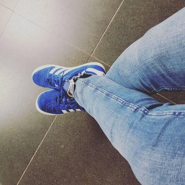 blue adidas gazelle