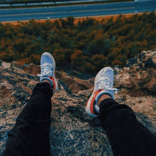 I'm reeeally diggin these eqts. And they're so comfy. It's like walking on marshmallows. @iamkevinfedderson you were right, this shot was def worth gettin. Scary as fvck though. What's the point I guess if you're not living on the edge. #adventure #utah #explore #aov #artofvisuals #way2ill #travel #mountains #outdoors #life #3stripesstyle #style #kicks #shoes #adidas ##summer #fitness #motivation #hiking #perspective #instagood #mood #picoftheday #fun #color #illgrammers #moodygrams