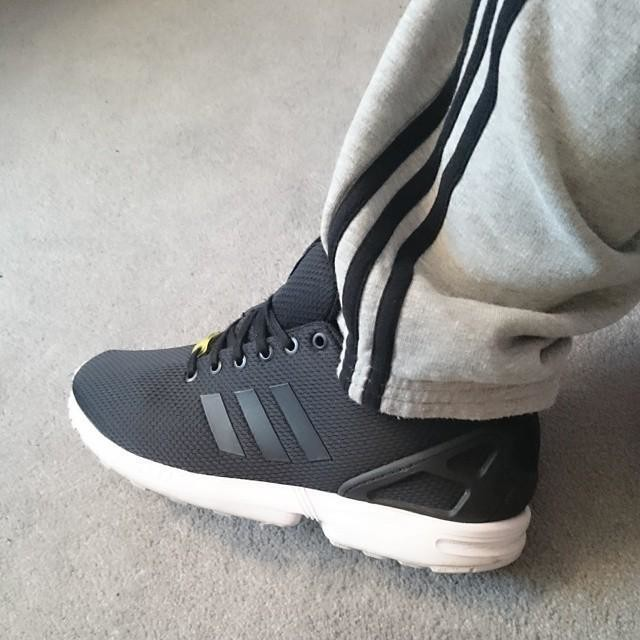 Saturday Feet. #adidasoriginals #adidas #zxflux #black #grey